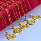 "Women Girl 14k Gold Filled Coin Pendant 18"" Fashion Necklace Chain Jewelry Set"