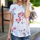 New Women Short Sleeve T Shirts Flower Printed Blouse Casual Tops T Shirt Tee