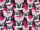 Disney MINNIE MOUSE in glasses PINK : 100% cotton fabric by the 1/2 metre