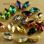 36pc 5x10mm navette Crystal glass gold Plated setting  Sew On Rhinestones beads