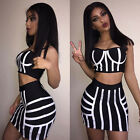 2PCS Womens Striped Sets Crop Top Sleeveless Strappy Skinny Skirt Summer Suit