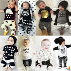 Newborn Toddler Kids Baby Boys Girls Outfits Clothes T-shirt Tops+Pants Set Hot