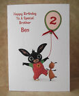 Handmade Personalised Bing - Bunny & Flop Birthday Card 1st 2nd 3rd 4th Other