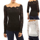 Womens Long Sleeve Floral Lace Blouse Shirt Evening Cocktail Clubbing Party Top