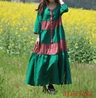 Womens Retro literature Ball Gown Long Sleeve Loose Fit Crew Neck Casual Dress