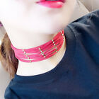Stylish Punk Multilayer Necklace Simple Chain Leather Collar Choker Necklace