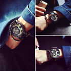Fashion Men Watch Leather Quartz Analog Wrist Watch Gent's Leather Sports Watch