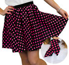 POLKA DOT SKIRT & SCARF BLACK WITH PINK DOTS 50S ROCK N ROLL FANCY DRESS COSTUME