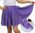 POLKA DOT SKIRT & SCARF PURPLE WITH WHITE DOTS ROCK N ROLL FANCY DRESS COSTUME