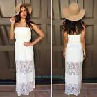 Summer Women White Lace Off shoulder Strapless Long Party Dress Beach Sundress