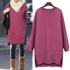 New Women Cotton Loose Crew Neck Long Sleeve Sweat Shirts Jumpers Fleece-lined