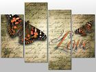 BUTTERFLY LOVE RED ADMIRAL LARGE SPLIT PANEL 4 PANEL CANVAS WALL ART IMAGE
