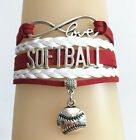 Infinity Love SOFTBALL With Softball Baseball Charms Leather Sports Bracelet
