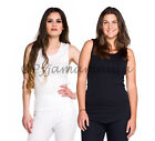 Thermals Three Ladies Cotton Thermal Singlet Tops Black White Beige  Size 8-22