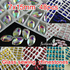 48p 15x7mm color sew on silver flatback crystal navette rhinestones beads 2holes