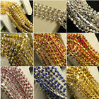 SS8 1row crystal glass cup rhinestones chain trims silver/gold plate 1meter