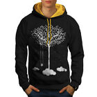 Wellcoda Tree Cloud Space Nature Mens Contrast Hoodie, Dream Casual Jumper