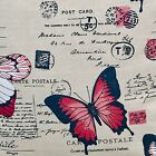 """10 x 5"""" or 6.5"""" Quilting Squares - Red Butterflies & Script on Beige Linen."""