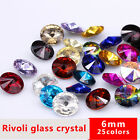 50 Round color pointed Foiled back faceted Crystal glass Rhinestone Nail Art 6mm