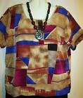 Womens Top Short Sleeve Tan Purple Print Sz M Free Shipping to US