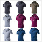 Men's Fashion Casual Pure Color Tee Man Hooded Short Sleeve T-Shirt 5 Color New