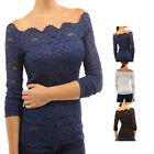 Women Slim Shirt Long Sleeve Lace Blouse Off-Shoulder Shirt Comfortable LAUS