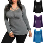 Fashion Women's Tops Blouse Long Sleeves Plus Size ladies Casual Loose T Shirts