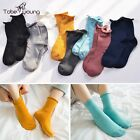 New Women Casual Ruffles Candy Color Cotton Warm Striped High Crew Socks Hosiery