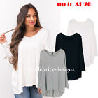 tp17L CFLB Women's Plain Loose Fit Oversized T Shirt Batwing Slouch Top 8 - 18