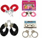 FURRY FLUFFY HANDCUFFS PINK BLACK METAL FANCY DRESS HEN NIGHT STAG DO PLAY TOY