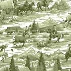 Cowboy RAWHIDE on green   : 100% NOVELTY cotton fabric by the 1/2 metre