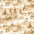 Cowboy RAWHIDE on beige   : 100% NOVELTY cotton fabric by the 1/2 metre