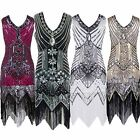 Brand New Women's Vintage Elegant V-neck Sequin Beaded Flapper Evening Dresses
