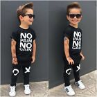 Внешний вид - 2pcs Toddler Kids Baby Boys Summer Casual Clothes T-shirt Tops+Pants Outfits Set