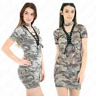 Womens Ladies Army Camouflage Printed Lace Up Choker V Neck Bodycon Mini Dress