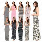Womens Ladies Printed Sleeveless Summer Racer Back Long Jersey Maxi Dress 8-14