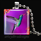 HUMMINGBIRD FLOWER BIRD GARDEN GLASS TILE PENDANT NECKLACE KEYCHAIN