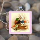 VINTAGE EASTER BUNNY RABBIT EGGS GLASS TILE PENDANT NECKLACE KEYCHAIN design 1