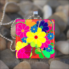 HAWAII FLOWER SUMMER FLORAL GLASS TILE PENDANT NECKLACE KEYCHAIN