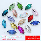 40P color faceted Glass Rhinestones 7x15mm Navette Crystal Fancy Sewing On Stone