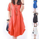 Summer Womens Short Sleeve Casual Beach Top Sundress Party Evening Mini Dress