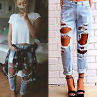 Women Hole Destroyed Ripped Distressed Slim Denim Pants Boyfriend Jeans Lot Pop