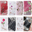 Silver Flip Bling Crystal Book Leather Card Wallet Case Stand Cover For Samsung
