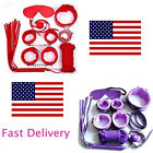 US 7 Slave Game Restraint Kit Handcuffs Collar Eye Mask Whip Shackle Mouth Ball