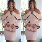 WOMENS CASUAL SHORT MINI DRESS LONG SLEEVE EVENING PARTY COCKTAIL BODYCON S-3XL
