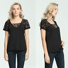 Fashion Womens Ladies Summer T-Shirt Casual Short Sleeve Blouse Shirt Tops Black