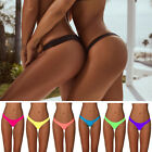 Brazilian Womens Bikini Bottom Cheeky Semi V Thong Ruched Scrunch Swimwear FO