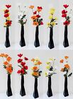 Wild Poppy Flower Display 8 Flower Heads 2 Stems In A Black Ceramic Twist Vase