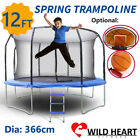 12ft Trampoline Round Safety Net+Spring Pad+Ladder Optional Basketball Set Kids