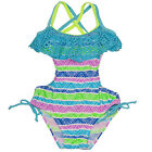 2B Real Little Girls Turquoise Geometric Print Laser Cut Monokini Swimsuit 4-6X